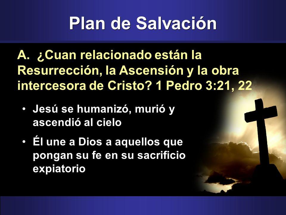 Plan de Salvación Jesú se humanizó, murió y ascendió al cielo Él une a Dios a aquellos que pongan su fe en su sacrificio expiatorio A. ¿Cuan relaciona