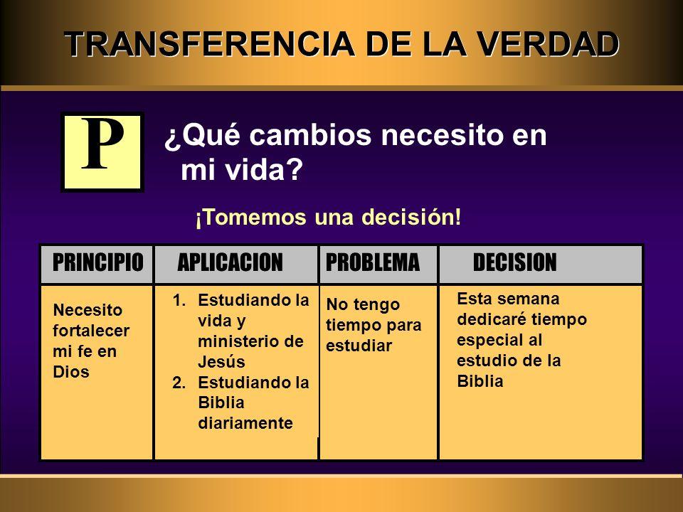 TRANSFERENCIA DE LA VERDAD ¿Qué cambios necesito en mi vida? Necesito fortalecer mi fe en Dios No tengo tiempo para estudiar 1.Estudiando la vida y mi