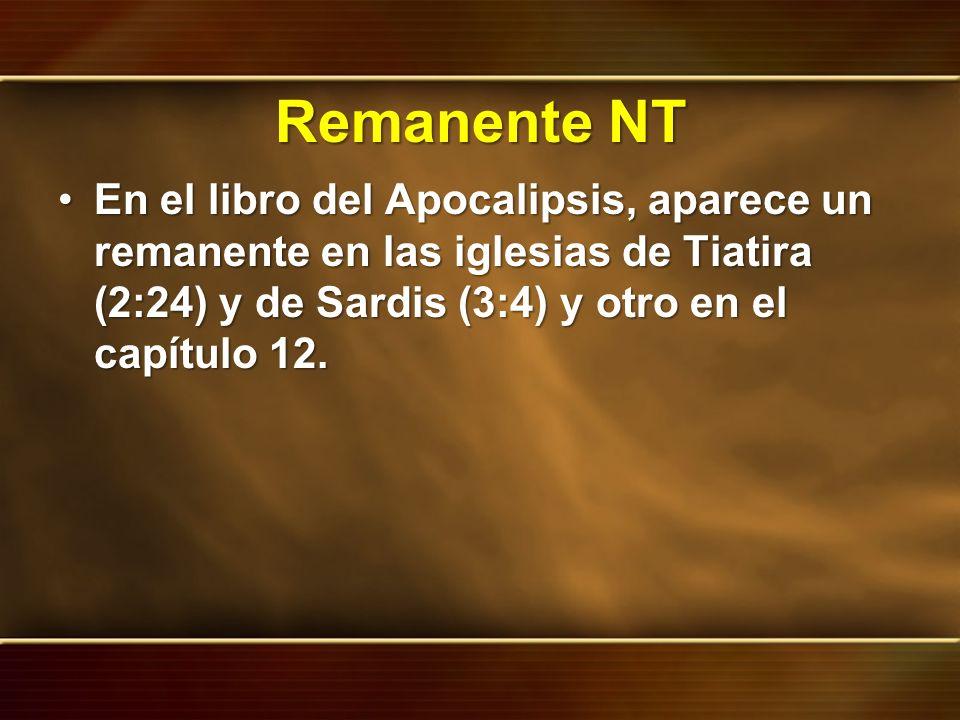 Remanente NT En el libro del Apocalipsis, aparece un remanente en las iglesias de Tiatira (2:24) y de Sardis (3:4) y otro en el capítulo 12.En el libr