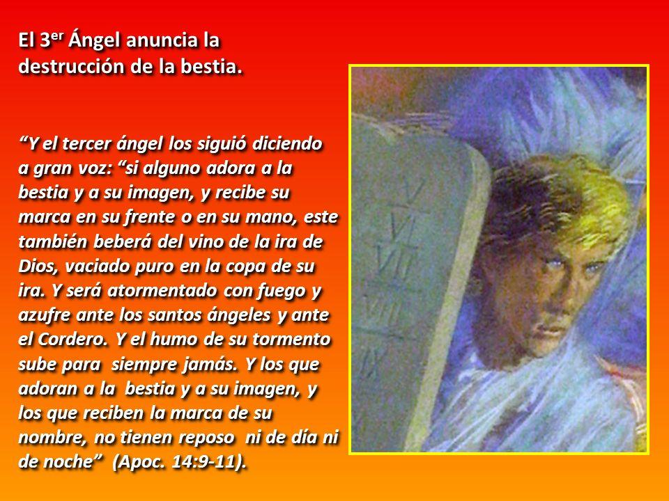 El 3 er Ángel anuncia la destrucción de la bestia. Y el tercer ángel los siguió diciendo a gran voz: si alguno adora a la bestia y a su imagen, y reci