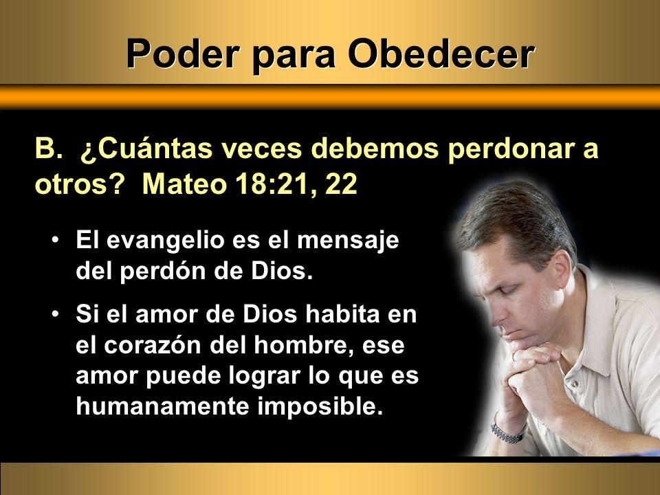 El evangelio es el mensaje del perdón de Dios. Si el amor de Dios habita en el corazón del hombre, ese amor puede lograr lo que es humanamente imposib