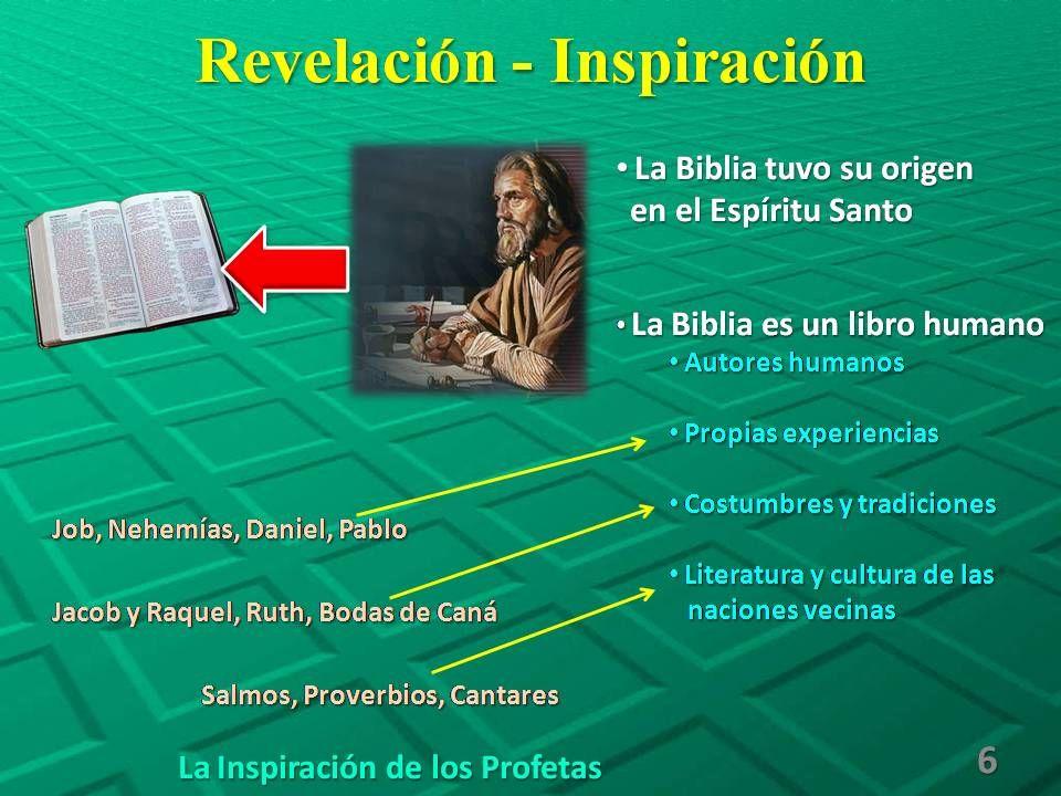 Revelación - Inspiración La Inspiración de los Profetas 6 La Biblia tuvo su origen La Biblia tuvo su origen en el Espíritu Santo en el Espíritu Santo