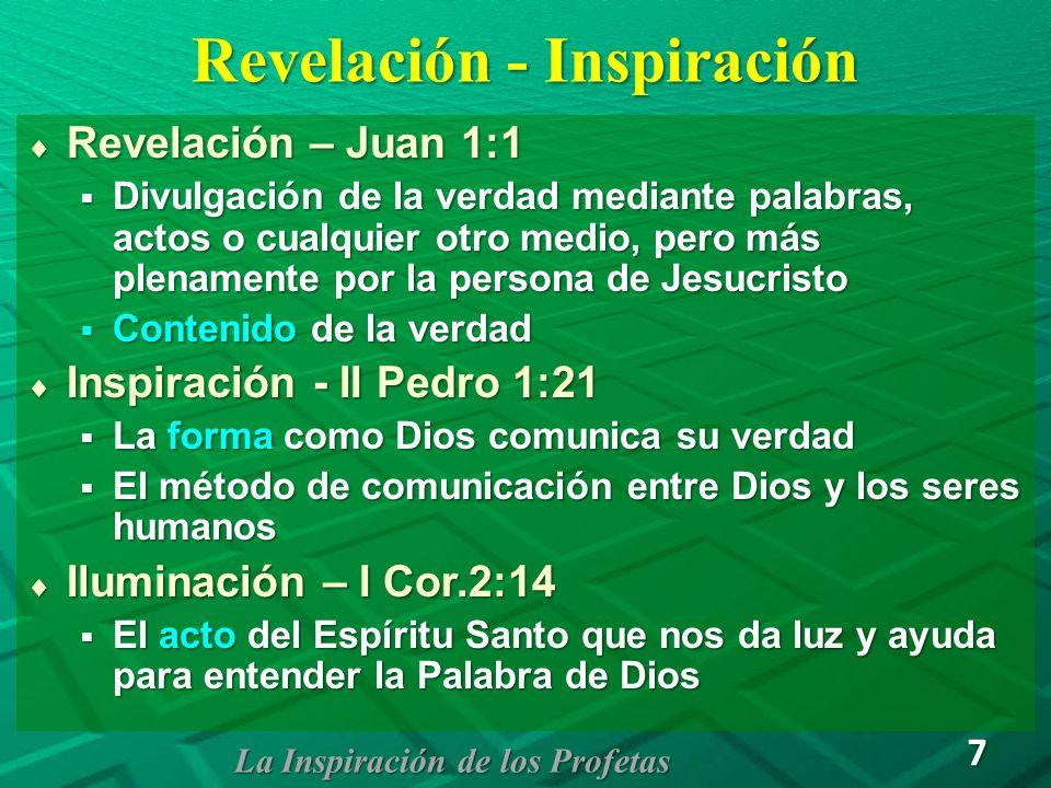 Modelos de Inspiración Inspiración verbal – Las palabras de la Biblia Inspiración verbal – Las palabras de la Biblia Isa.2:1,2; Eze.36:16 Isa.2:1,2; Eze.36:16 Todas las palabras fueron inspiradas por Dios Todas las palabras fueron inspiradas por Dios Solamente los escritos originales, no las copias Solamente los escritos originales, no las copias Inspiración del pensamiento – El escritor Inspiración del pensamiento – El escritor 1 Cor.7:10-12,29,40 - 1 Tes.2:13 1 Cor.7:10-12,29,40 - 1 Tes.2:13 El escritor recibe la visión, el sueño o el pensamiento y después lo escribe en sus propias palabras El escritor recibe la visión, el sueño o el pensamiento y después lo escribe en sus propias palabras El Espíritu Santo se asegura que las palabras usadas presenten la verdad de Dios correctamente El Espíritu Santo se asegura que las palabras usadas presenten la verdad de Dios correctamente La Inspiración de los Profetas 8