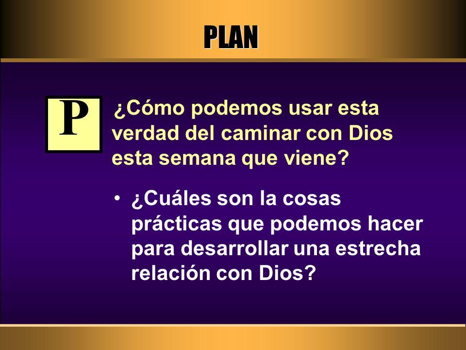 PLAN ¿Cómo podemos usar esta verdad del caminar con Dios esta semana que viene? ¿Cuáles son la cosas prácticas que podemos hacer para desarrollar una