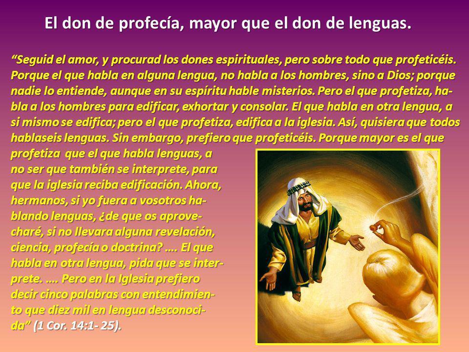 El don de profecía, mayor que el don de lenguas. Seguid el amor, y procurad los dones espirituales, pero sobre todo que profeticéis. Porque el que hab