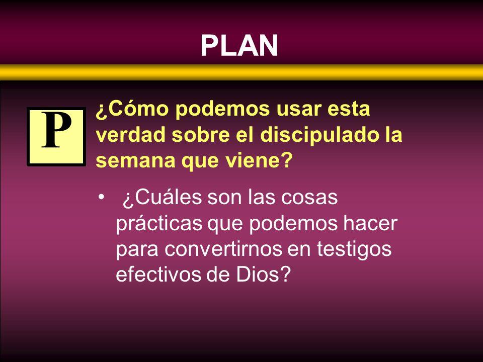 PLAN ¿Cómo podemos usar esta verdad sobre el discipulado la semana que viene? ¿Cuáles son las cosas prácticas que podemos hacer para convertirnos en t