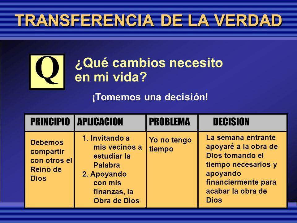 TRANSFERENCIA DE LA VERDAD ¿Qué cambios necesito en mi vida? Debemos compartir con otros el Reino de Dios Yo no tengo tiempo 1. Invitando a mis vecino