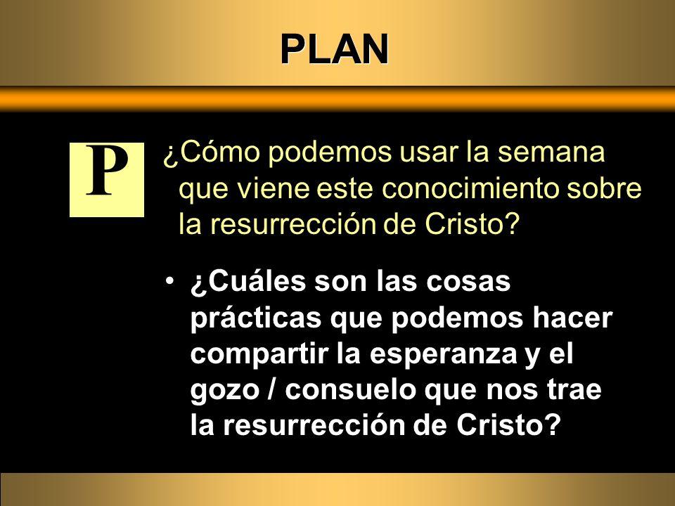PLAN ¿Cómo podemos usar la semana que viene este conocimiento sobre la resurrección de Cristo? ¿Cuáles son las cosas prácticas que podemos hacer compa