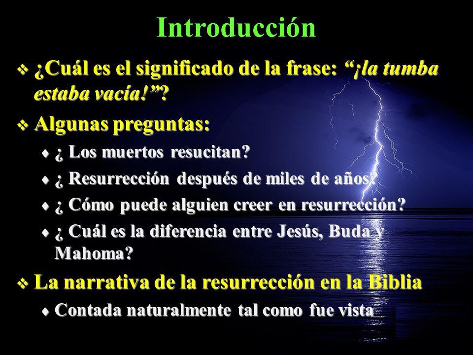 Introducción ¿Cuál es el significado de la frase: ¡la tumba estaba vacía!? ¿Cuál es el significado de la frase: ¡la tumba estaba vacía!? Algunas pregu
