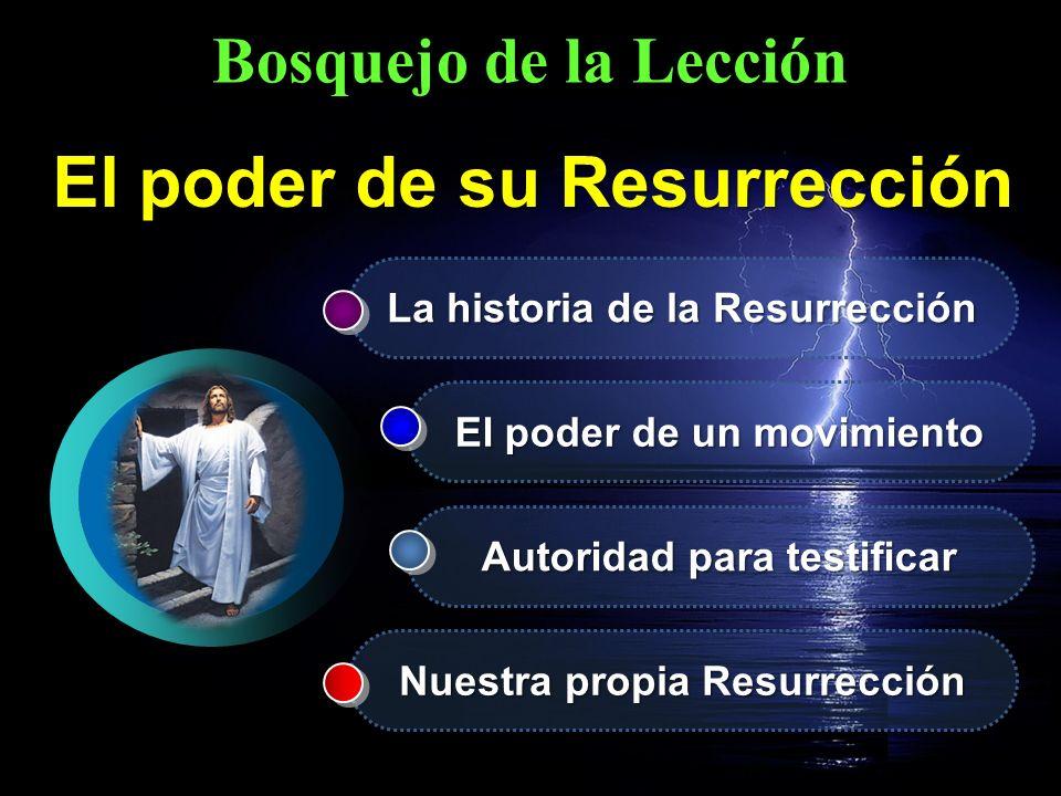 Bosquejo de la Lección La historia de la Resurrección El poder de un movimiento Autoridad para testificar Nuestra propia Resurrección El poder de su R