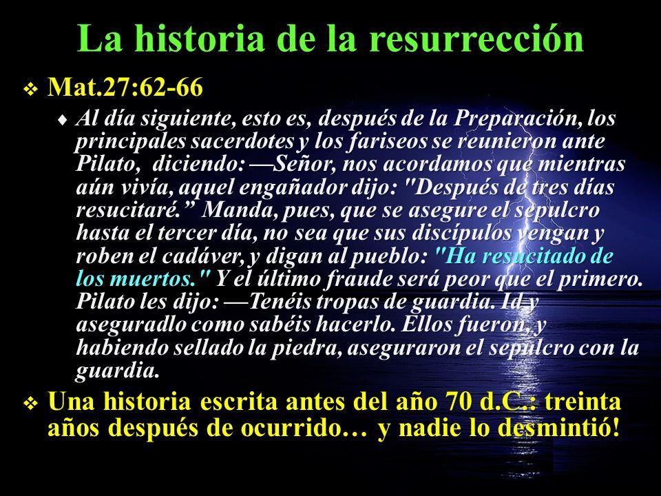 La historia de la resurrección Todos los eventos fueron públicos: verídicos Todos los eventos fueron públicos: verídicos La traición de Judas (Mat.27:3,4) La traición de Judas (Mat.27:3,4) El arresto en la noche (Mat.27:11) El arresto en la noche (Mat.27:11) La celeridad del juicio (Mat.27:24) La celeridad del juicio (Mat.27:24) El abuso de los soldados romanos (Mat.27:28) El abuso de los soldados romanos (Mat.27:28) El camino hacia el Calvario El camino hacia el Calvario La reacción física de Jesús bajo la cruz La reacción física de Jesús bajo la cruz El abandono de sus discípulos El abandono de sus discípulos El velo del templo (Mat.27:51) El velo del templo (Mat.27:51) El terremoto (todos lo sintieron) (Mat.27:54) El terremoto (todos lo sintieron) (Mat.27:54)