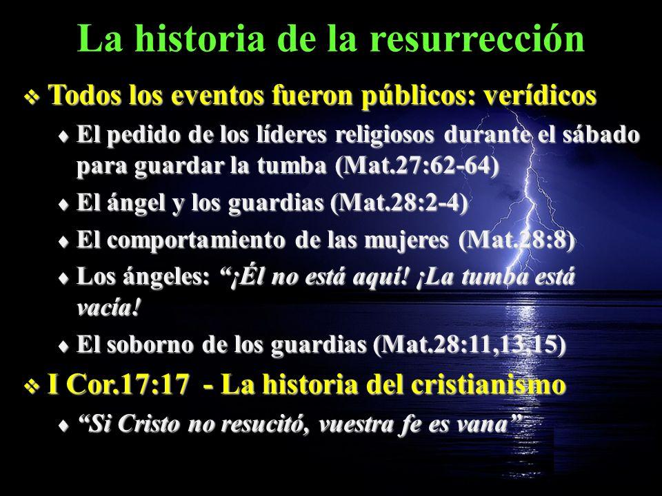 La historia de la resurrección Todos los eventos fueron públicos: verídicos Todos los eventos fueron públicos: verídicos El pedido de los líderes reli