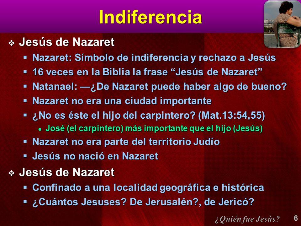 Indiferencia Jesús de Nazaret Jesús de Nazaret Nazaret: Símbolo de indiferencia y rechazo a Jesús Nazaret: Símbolo de indiferencia y rechazo a Jesús 16 veces en la Biblia la frase Jesús de Nazaret 16 veces en la Biblia la frase Jesús de Nazaret Natanael: ¿De Nazaret puede haber algo de bueno.