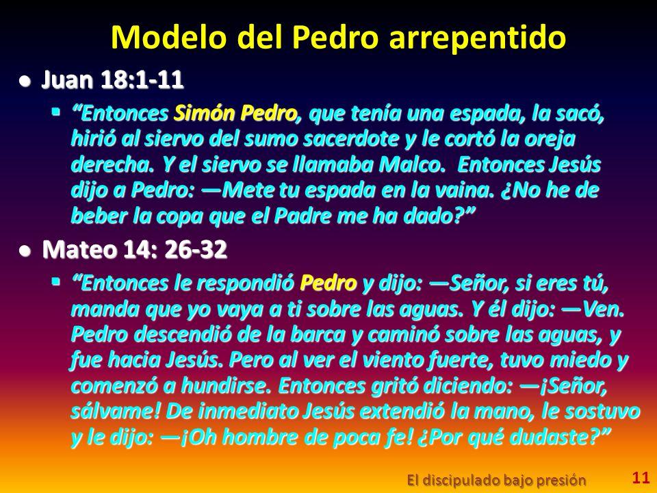 Modelo del Pedro arrepentido Juan 18:1-11 Juan 18:1-11 Entonces Simón Pedro, que tenía una espada, la sacó, hirió al siervo del sumo sacerdote y le co