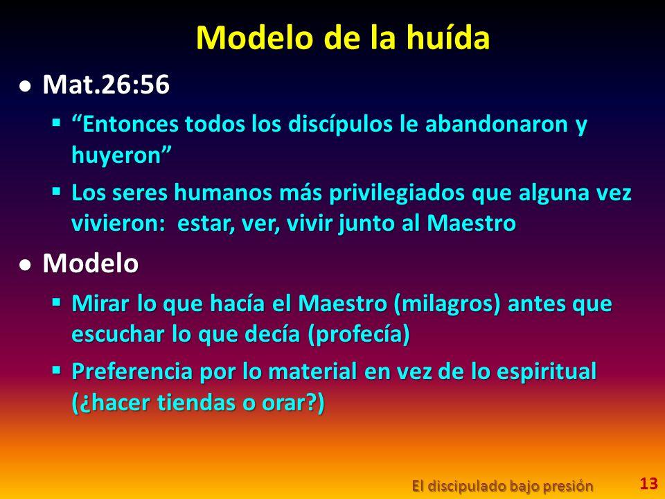 Modelo de la huída Mat.26:56 Mat.26:56 Entonces todos los discípulos le abandonaron y huyeron Entonces todos los discípulos le abandonaron y huyeron Los seres humanos más privilegiados que alguna vez vivieron: estar, ver, vivir junto al Maestro Los seres humanos más privilegiados que alguna vez vivieron: estar, ver, vivir junto al Maestro Modelo Modelo Mirar lo que hacía el Maestro (milagros) antes que escuchar lo que decía (profecía) Mirar lo que hacía el Maestro (milagros) antes que escuchar lo que decía (profecía) Preferencia por lo material en vez de lo espiritual (¿hacer tiendas o orar?) Preferencia por lo material en vez de lo espiritual (¿hacer tiendas o orar?) El discipulado bajo presión 13