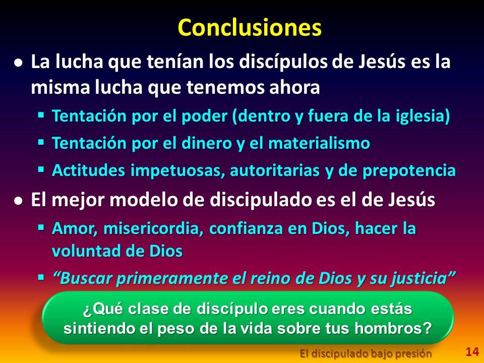 Conclusiones La lucha que tenían los discípulos de Jesús es la misma lucha que tenemos ahora La lucha que tenían los discípulos de Jesús es la misma l