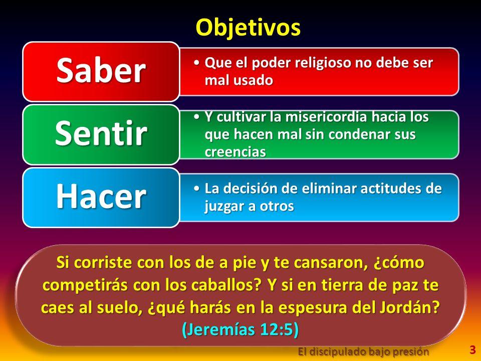 Objetivos El discipulado bajo presión 3 Que el poder religioso no debe ser mal usadoQue el poder religioso no debe ser mal usado Saber Y cultivar la m