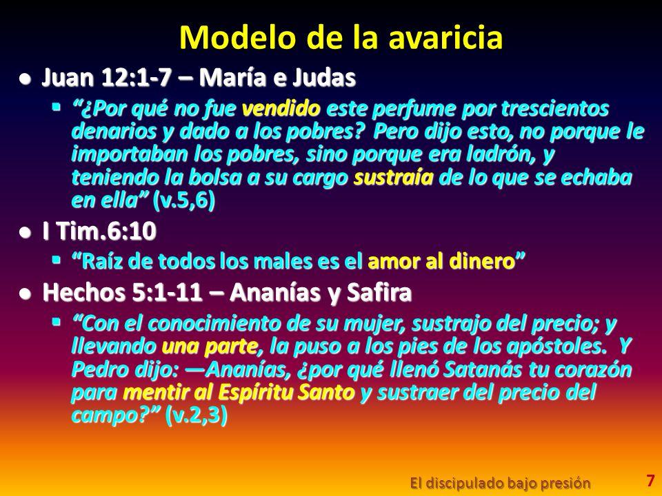 Modelo de la avaricia Juan 12:1-7 – María e Judas Juan 12:1-7 – María e Judas ¿Por qué no fue vendido este perfume por trescientos denarios y dado a l