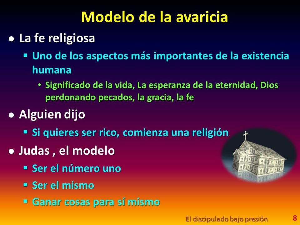 Modelo de la avaricia La fe religiosa La fe religiosa Uno de los aspectos más importantes de la existencia humana Uno de los aspectos más importantes