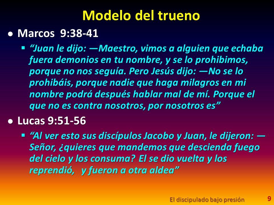 Modelo del trueno Marcos 9:38-41 Marcos 9:38-41 Juan le dijo: Maestro, vimos a alguien que echaba fuera demonios en tu nombre, y se lo prohibimos, por