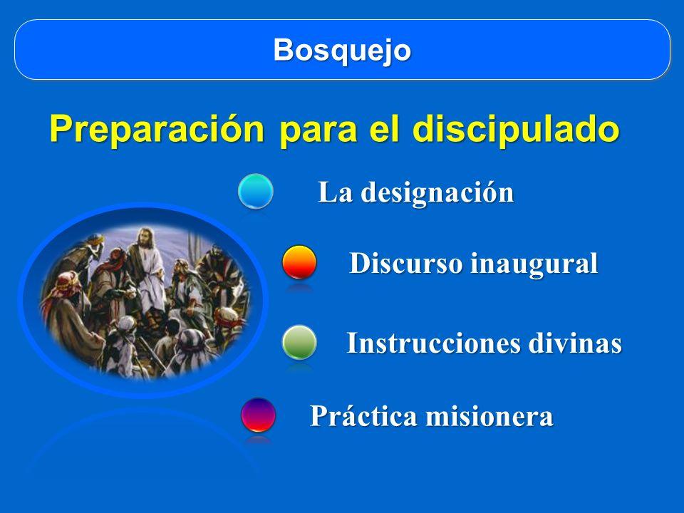 BosquejoBosquejo La designación Discurso inaugural Instrucciones divinas Práctica misionera Preparación para el discipulado