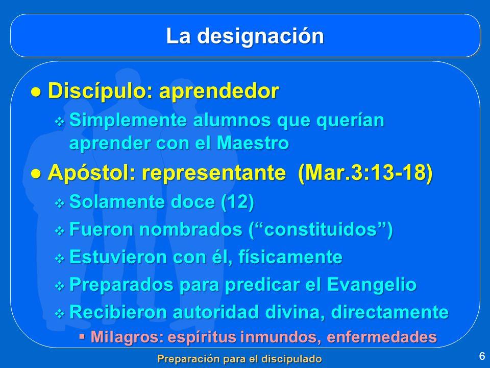 La designación Discípulo: aprendedorDiscípulo: aprendedor Simplemente alumnos que querían aprender con el Maestro Simplemente alumnos que querían apre