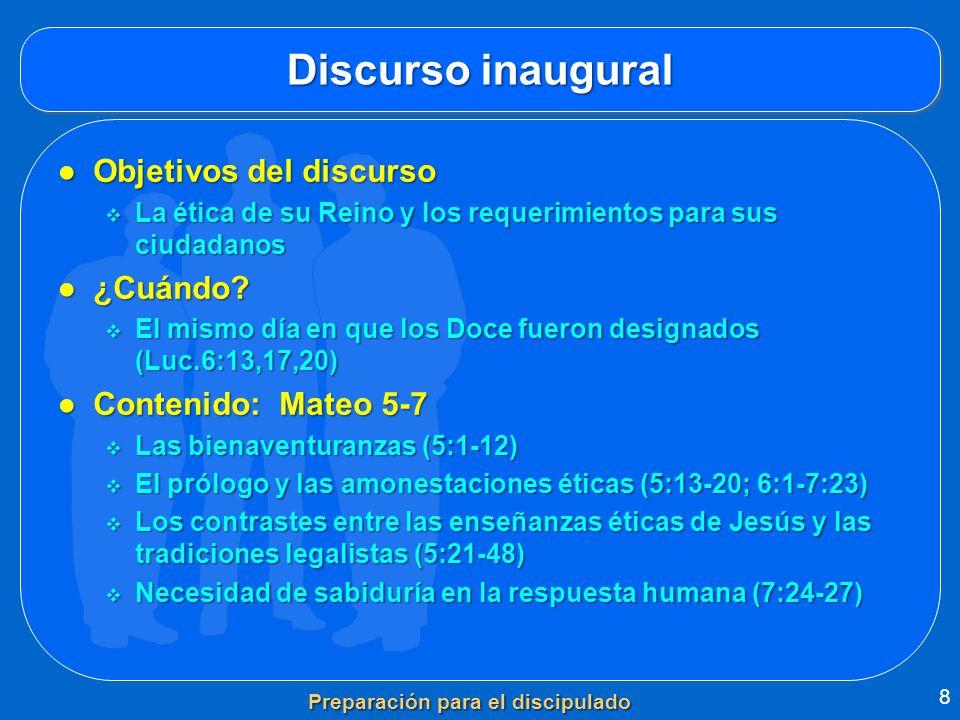 Discurso inaugural Objetivos del discursoObjetivos del discurso La ética de su Reino y los requerimientos para sus ciudadanos La ética de su Reino y l