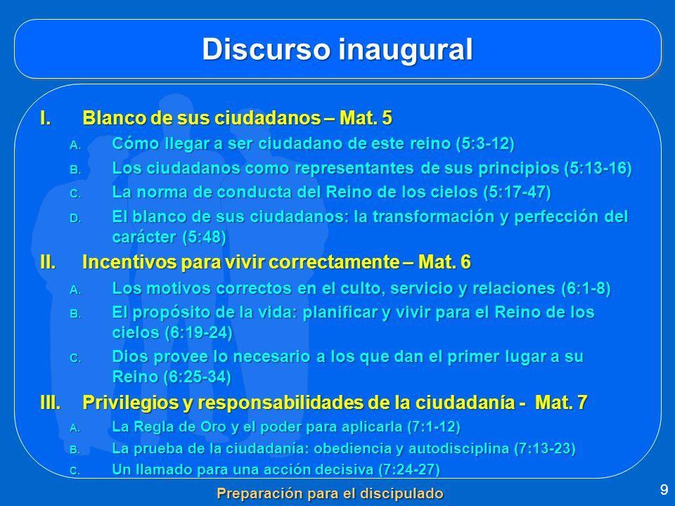 Discurso inaugural I.Blanco de sus ciudadanos – Mat. 5 A. Cómo llegar a ser ciudadano de este reino (5:3-12) B. Los ciudadanos como representantes de