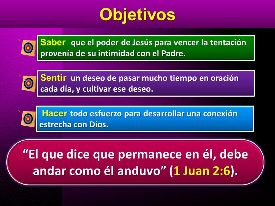 Objetivos El que dice que permanece en él, debe andar como él anduvo (1 Juan 2:6). Sentir un deseo de pasar mucho tiempo en oración cada día, y cultiv