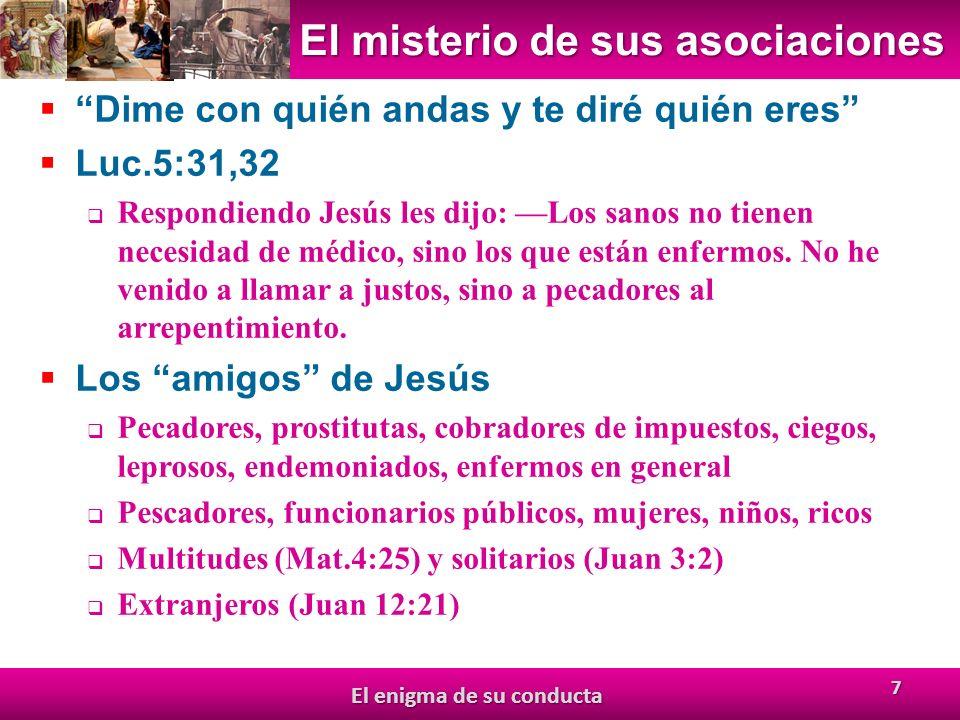 El misterio de sus asociaciones Dime con quién andas y te diré quién eres Luc.5:31,32 Respondiendo Jesús les dijo: Los sanos no tienen necesidad de médico, sino los que están enfermos.