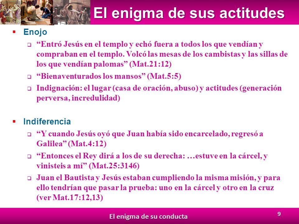 El enigma de sus actitudes Enojo Entró Jesús en el templo y echó fuera a todos los que vendían y compraban en el templo.