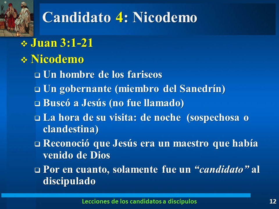 Candidato 4: Nicodemo Juan 3:1-21 Juan 3:1-21 Nicodemo Nicodemo Un hombre de los fariseos Un hombre de los fariseos Un gobernante (miembro del Sanedrí