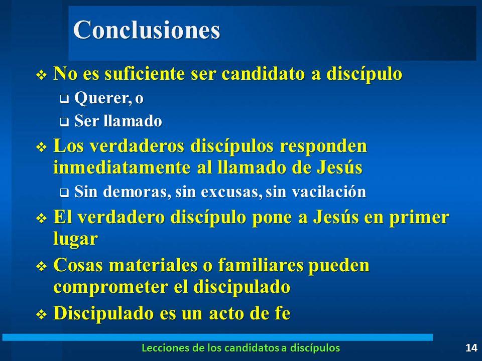 Conclusiones No es suficiente ser candidato a discípulo No es suficiente ser candidato a discípulo Querer, o Querer, o Ser llamado Ser llamado Los ver