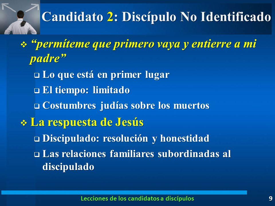 Candidato 2: Discípulo No Identificado permíteme que primero vaya y entierre a mi padre permíteme que primero vaya y entierre a mi padre Lo que está e