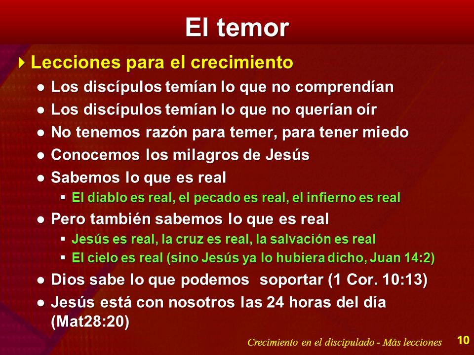 El temor Lecciones para el crecimiento Lecciones para el crecimiento Los discípulos temían lo que no comprendíanLos discípulos temían lo que no compre