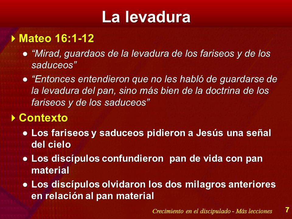 La levadura Mateo 16:1-12 Mateo 16:1-12 Mirad, guardaos de la levadura de los fariseos y de los saduceosMirad, guardaos de la levadura de los fariseos