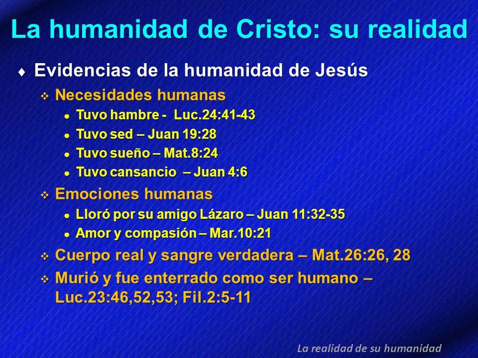 La humanidad de Cristo: su realidad Evidencias de la humanidad de Jesús Evidencias de la humanidad de Jesús Necesidades humanas Necesidades humanas Tu