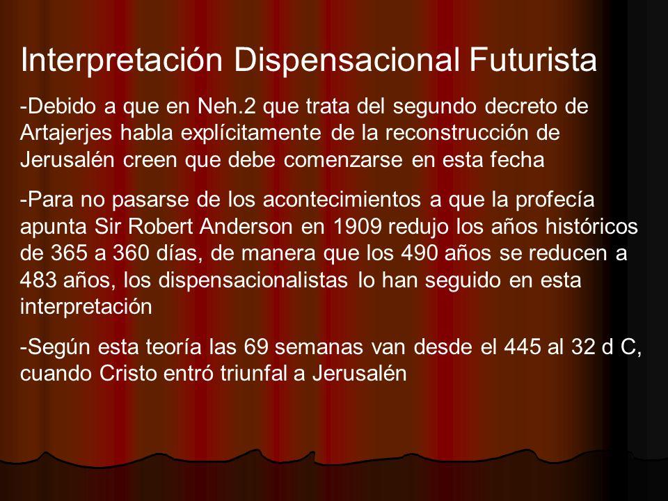 Interpretación Dispensacional Futurista -Debido a que en Neh.2 que trata del segundo decreto de Artajerjes habla explícitamente de la reconstrucción d