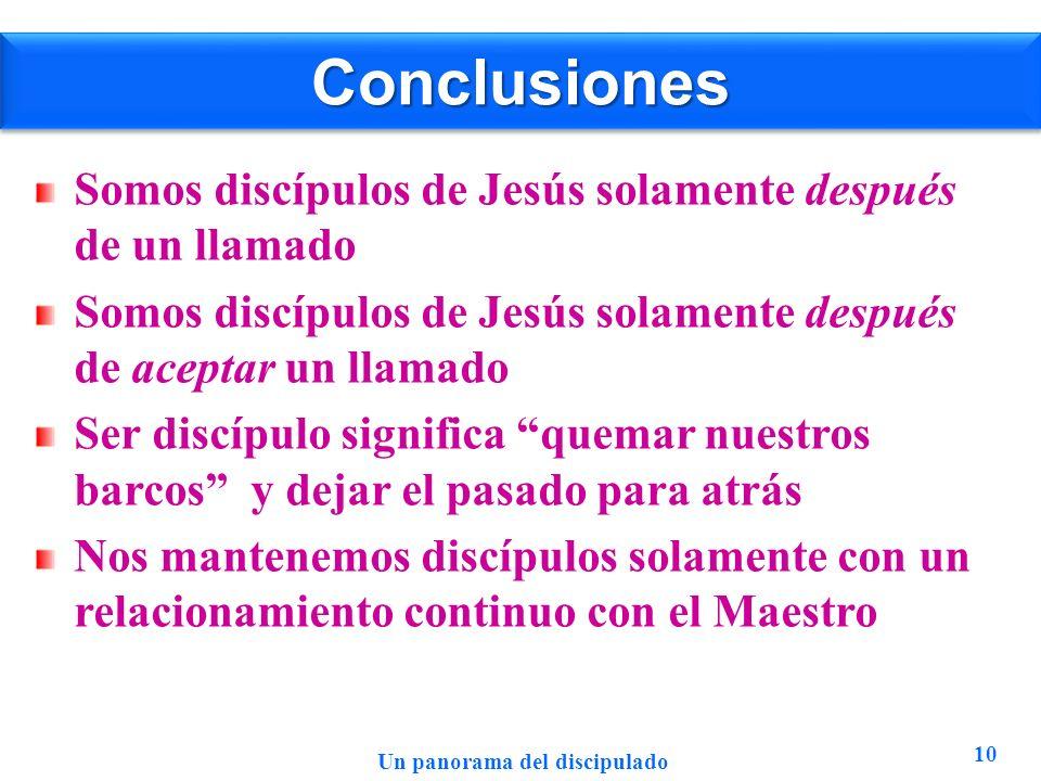 ConclusionesConclusiones Somos discípulos de Jesús solamente después de un llamado Somos discípulos de Jesús solamente después de aceptar un llamado S