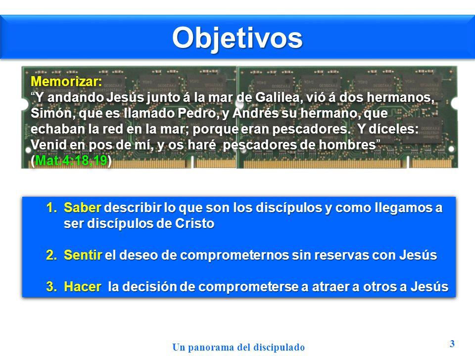 ObjetivosObjetivos 3 Memorizar: Y andando Jesús junto á la mar de Galilea, vió á dos hermanos, Simón, que es llamado Pedro, y Andrés su hermano, que e