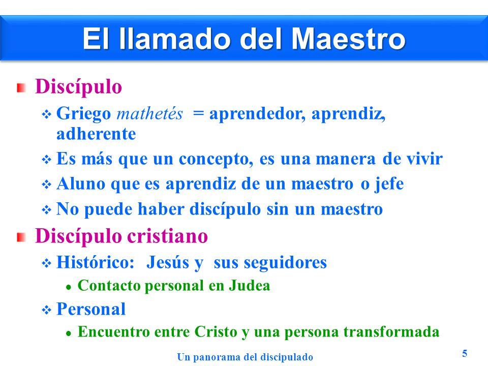 El llamado del Maestro Discípulo Griego mathetés = aprendedor, aprendiz, adherente Es más que un concepto, es una manera de vivir Aluno que es aprendi