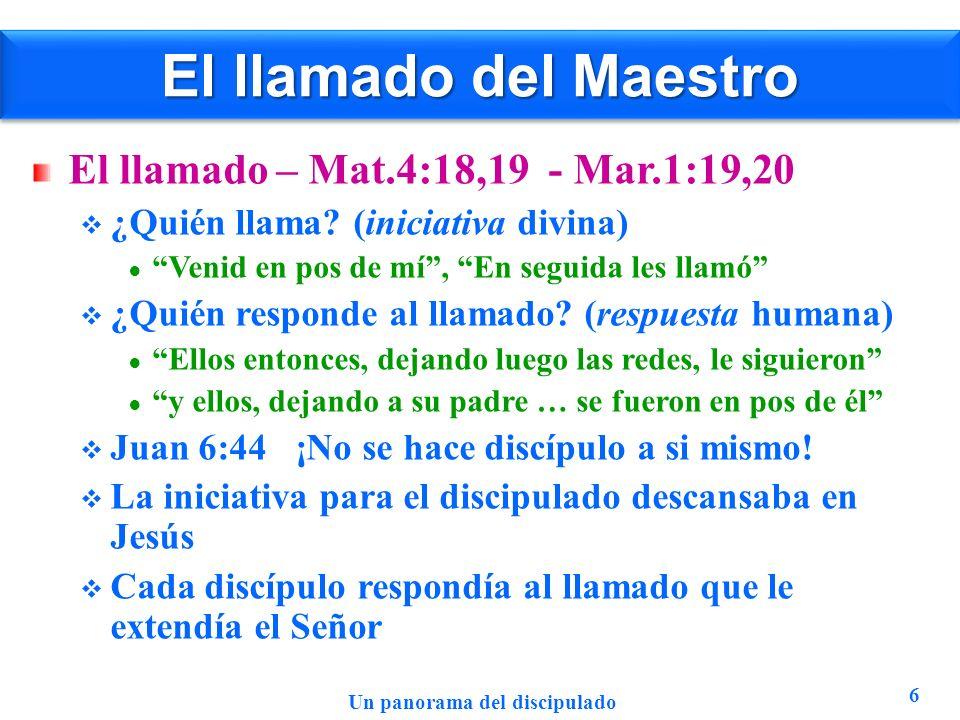 El llamado del Maestro El llamado – Mat.4:18,19 - Mar.1:19,20 ¿Quién llama? (iniciativa divina) Venid en pos de mí, En seguida les llamó ¿Quién respon