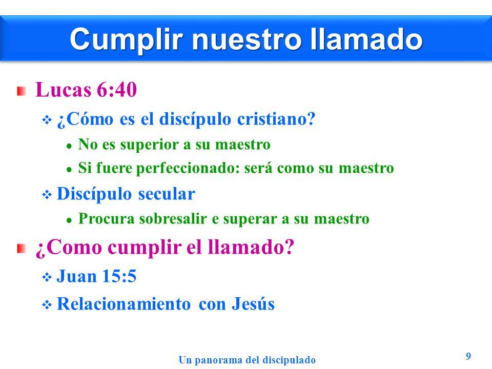 Cumplir nuestro llamado Lucas 6:40 ¿Cómo es el discípulo cristiano? No es superior a su maestro Si fuere perfeccionado: será como su maestro Discípulo
