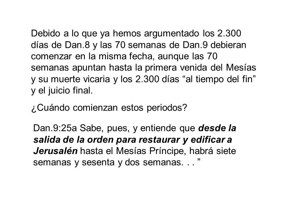 Estando bien establecida la fecha de partida de los 2.300 años y las 70 semanas (490 años), lo demás es fácil de calcular.