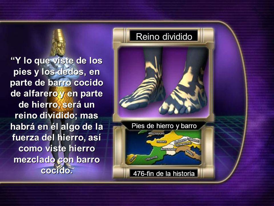 Reino dividido Pies de hierro y barro 476-fin de la historia Y lo que viste de los pies y los dedos, en parte de barro cocido de alfarero y en parte d