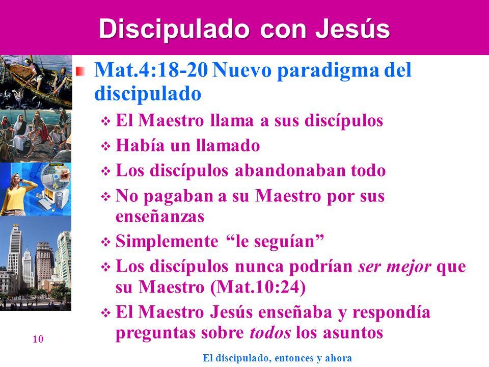 Discipulado con Jesús Mat.4:18-20 Nuevo paradigma del discipulado El Maestro llama a sus discípulos Había un llamado Los discípulos abandonaban todo N