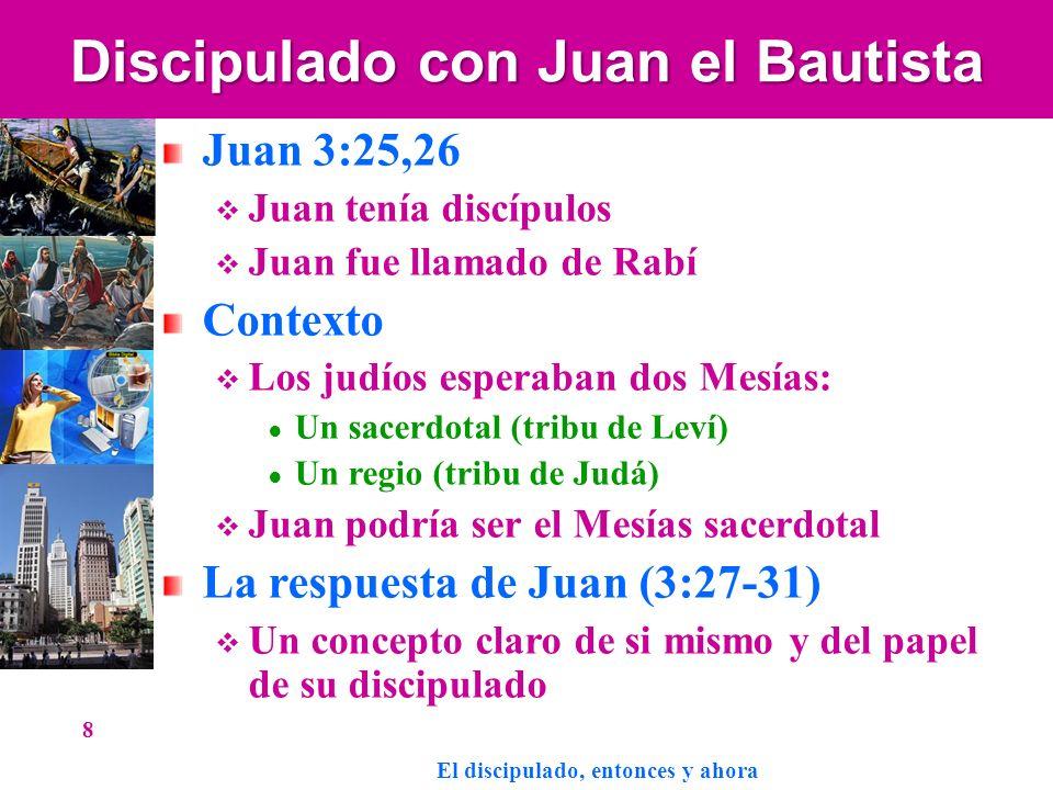 Discipulado con Juan el Bautista Juan 3:25,26 Juan tenía discípulos Juan fue llamado de Rabí Contexto Los judíos esperaban dos Mesías: Un sacerdotal (