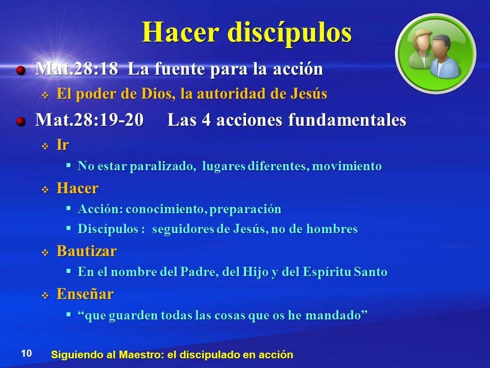 Hacer discípulos Mat.28:18 La fuente para la acción El poder de Dios, la autoridad de Jesús El poder de Dios, la autoridad de Jesús Mat.28:19-20 Las 4