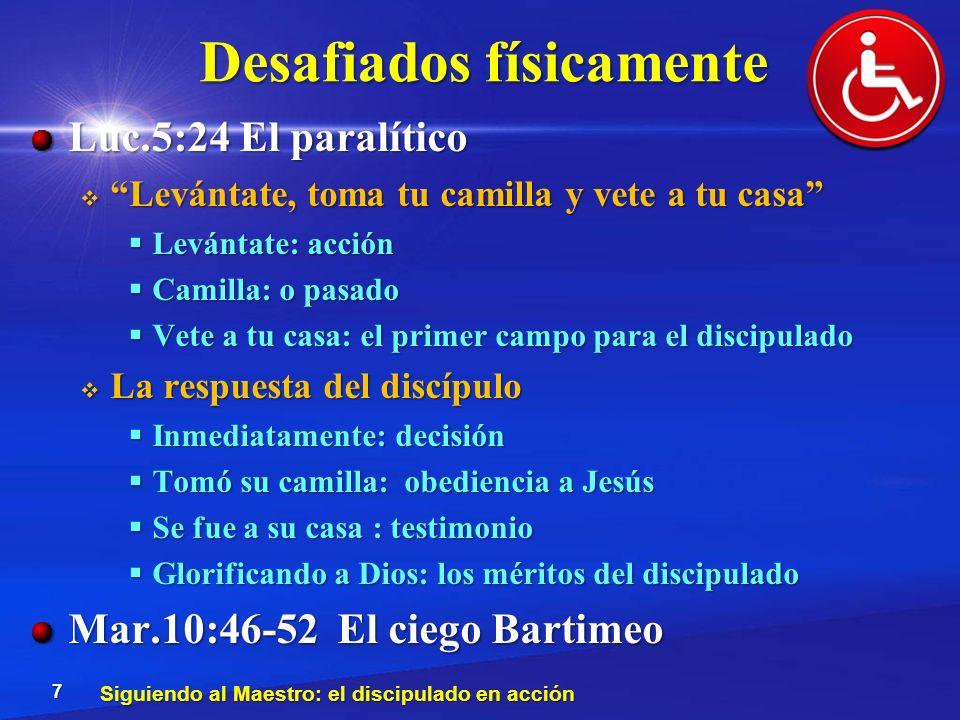 Desafiados físicamente Luc.5:24 El paralítico Levántate, toma tu camilla y vete a tu casa Levántate, toma tu camilla y vete a tu casa Levántate: acció
