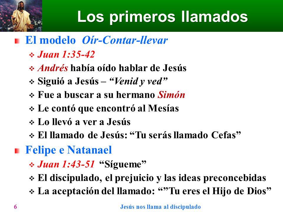 Los primeros llamados El modelo Oír-Contar-llevar Juan 1:35-42 Andrés había oído hablar de Jesús Siguió a Jesús – Venid y ved Fue a buscar a su herman